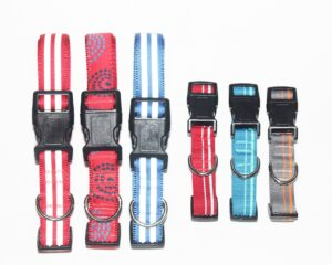 Collars various red blue gray