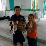 Children bringing puppies at FVAI vet clinic in Sarteneja