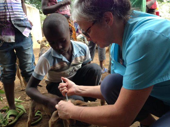 Dr Marie-Josée Simard giving antiparasite treatment in Tanzania