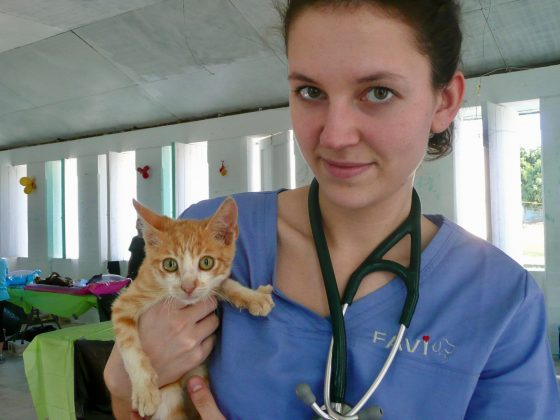 A veterinary student with a cute patient
