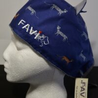 Surgical cap with ears-cheetahs in blue