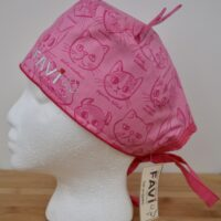 Surgical cap with ears-cat breeds in pink