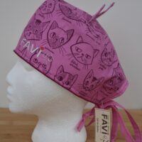 Surgical cap with ears-cat breeds in fuchsia