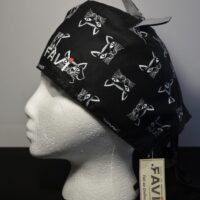 Surgical cap with ears-cat in black
