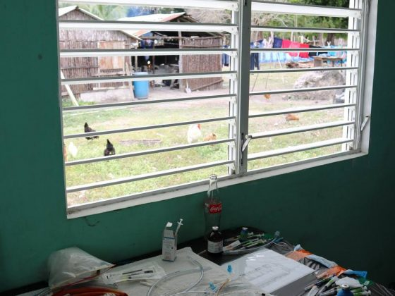 Pre-op table at FVAI clinic in Belize. Nice view!