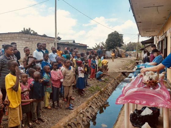 A gutter between the crowd and our surgery table at FVAI clinic in Arusha, Tanzania