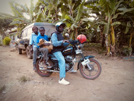 Going back home on a piki piki (motorbike in swahili )