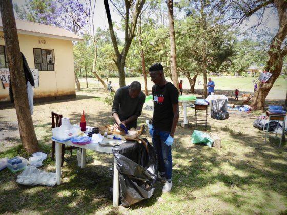Pre-op station at FVAI spay neuter clinic in Tanzania