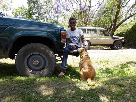 Young Tanzanian man with his dog at FVAI spay neuter clinic in Tanzania