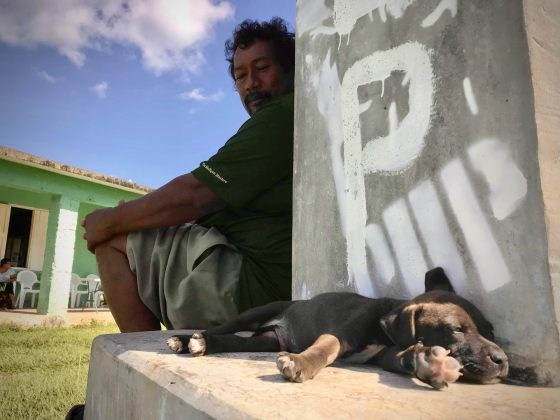 A Belizean and his puppy at FVAI spay neuter clinic