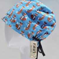 semi-bouffant surgical cap-small foxes in turquoise