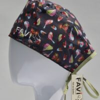surgical cap-small birds in grey