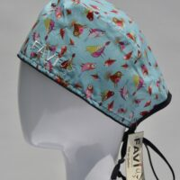 surgical cap-small birds in turquoise