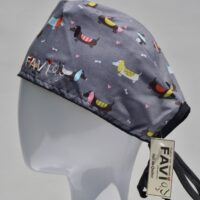 surgical cap-sausage dogs in grey