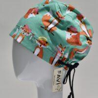 semi-bouffant surgical cap-Miss Fox in green