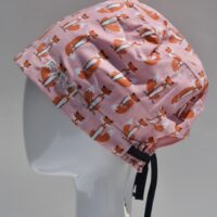 semi-bouffant surgical cap-small foxes in pink
