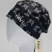 semi-bouffant surgical cap-cat in black
