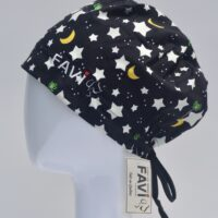 semi-bouffant surgical cap-stars, moon and creatures