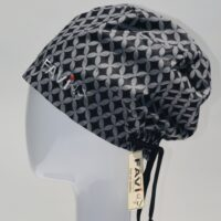 semi-bouffant surgical cap-classic in black and grey