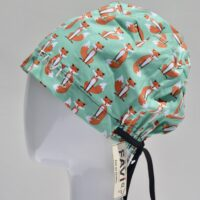 semi-bouffant surgical cap-small foxes in green
