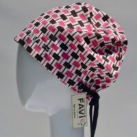 semi-bouffant surgical cap-rectangles in pink and brown