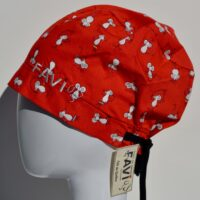 semi-bouffant surgical cap-mouse skateboarding in red