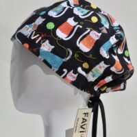 semi-bouffant surgical cap-cats and wool balls