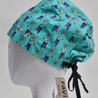 semi-bouffant surgical cap-toucans