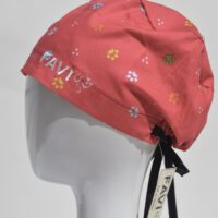 semi-bouffant surgical cap-small paws in red