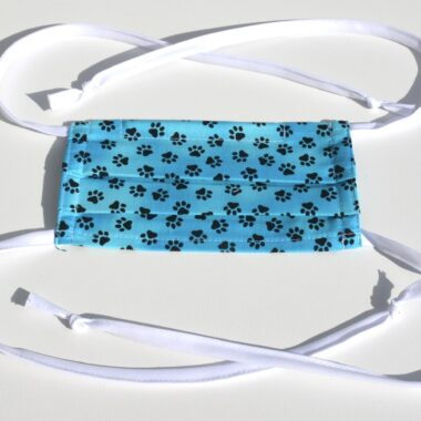 mask with ties-prints bright blue