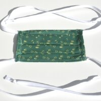 mask with ties-tiny prints in green