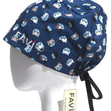 semi-bouffant surgical cap-masked kitties