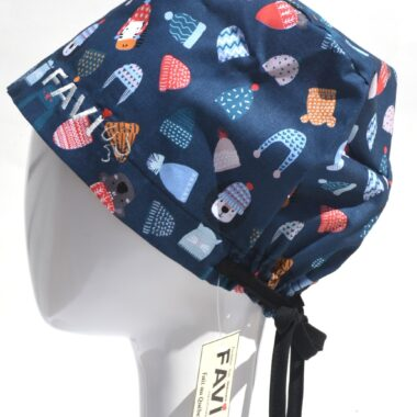 semi-bouffant surgical cap-put your toque on in blue