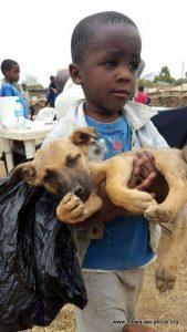 Petit garçon avec son chien en Tanzanie