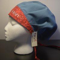 chapeau de chirurgie bouffant bleu acier avec bande rouge