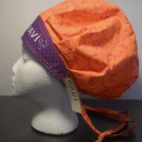 chapeau de chirurgie bouffant Orange et mauve