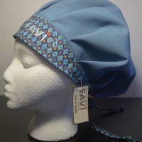 chapeau de chirurgie bouffant bleu acier et Les losanges-carrés