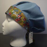 chapeau de chirurgie bouffant bleu acier Les framboises