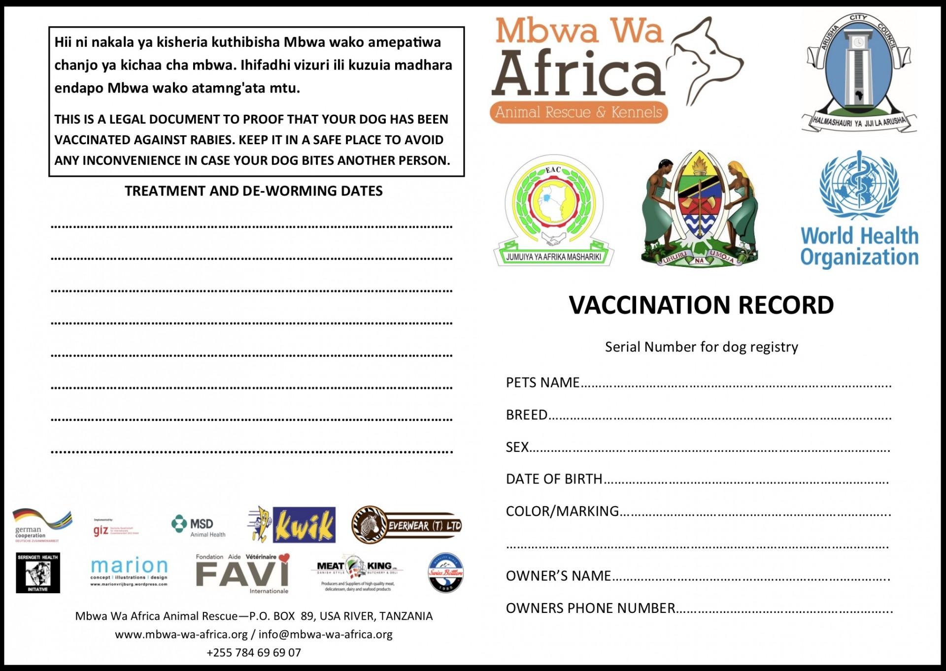 Certificat de vaccination contre la rage en Tanzanie