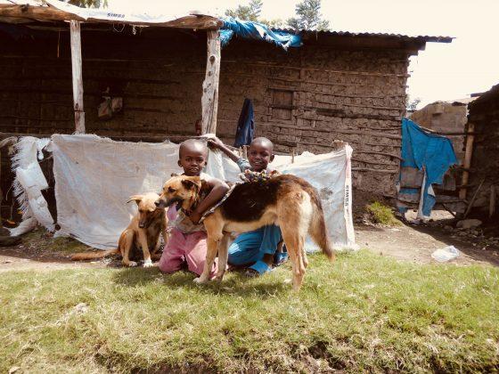 Des enfants tanzaniens prennent la pose avec leurs chiens.