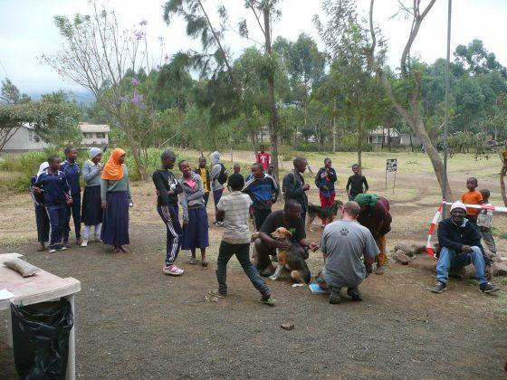 Accueil de la clinique en plein air à Baraa, Tanzanie