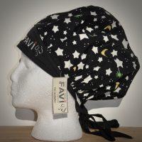chapeau de chirurgie bouffant-étoiles, lune et créatures