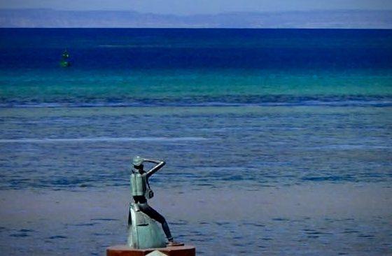 Statue de Jacques Cousteau à La Paz, Baja California Sur