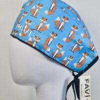 chapeau de chirurgie-les petits renards en turquoise