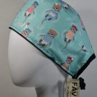 chapeau de chirurgie-les jolies loutres bleu menthe