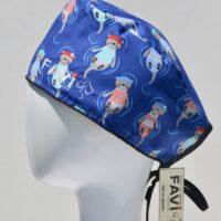 chapeau de chirurgie-les jolies loutres en bleu royal
