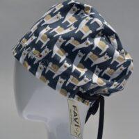 chapeau de chirurgie semi-bouffant-alpaga en bleu