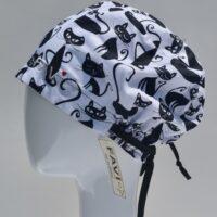 chapeau de chirurgie semi-bouffant-folle des chats en noir et blanc