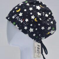 chapeau de chirurgie semi-bouffant-étoiles, lune et créatures