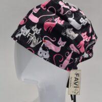 chapeau de chirurgie semi-bouffant-folle des chats en noir